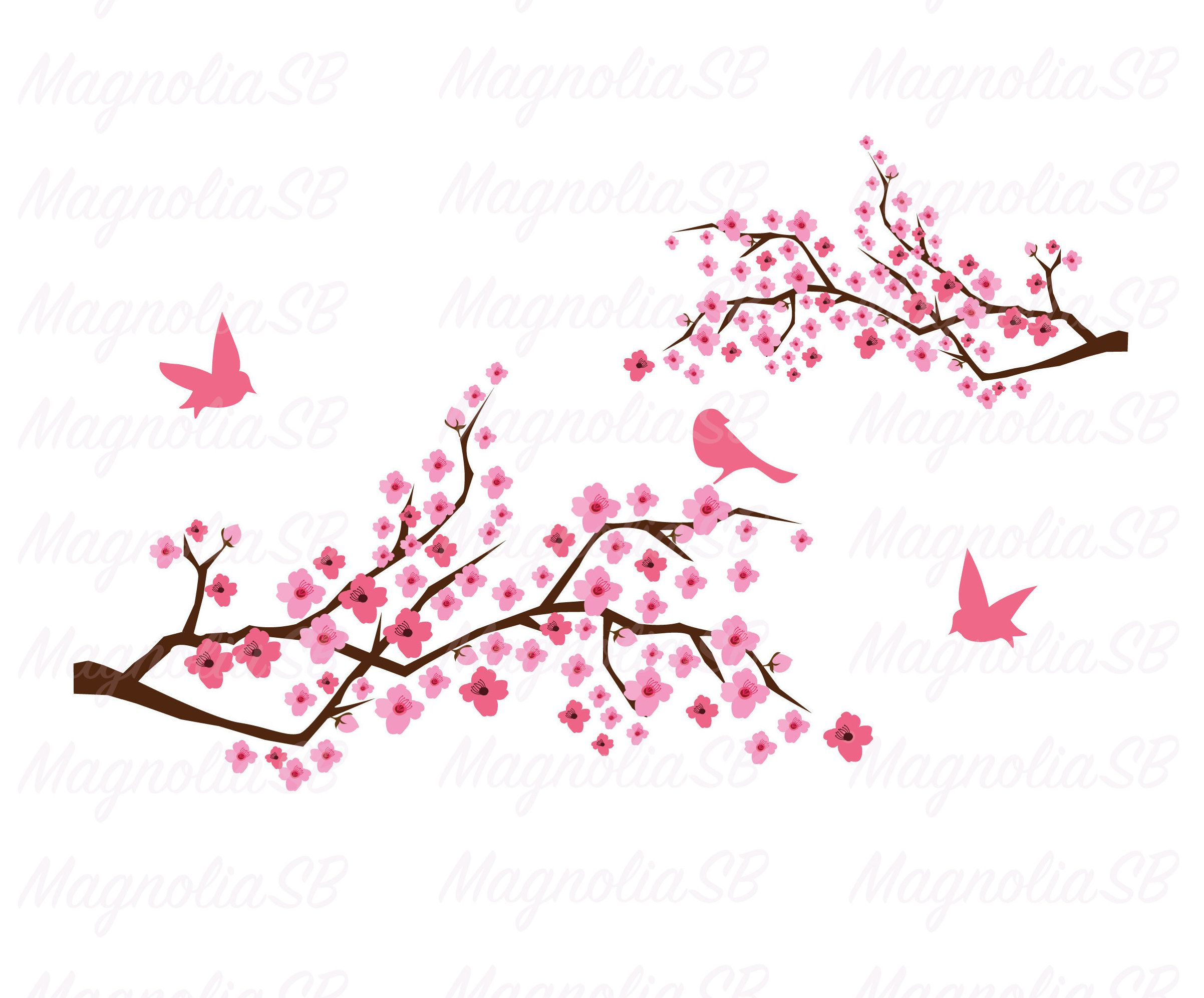 Cherry Blossom Svg Dxf Cherry Clipart Cherry Branch With Etsy In 2021 Clip Art Bird Silhouette Cherry Blossom