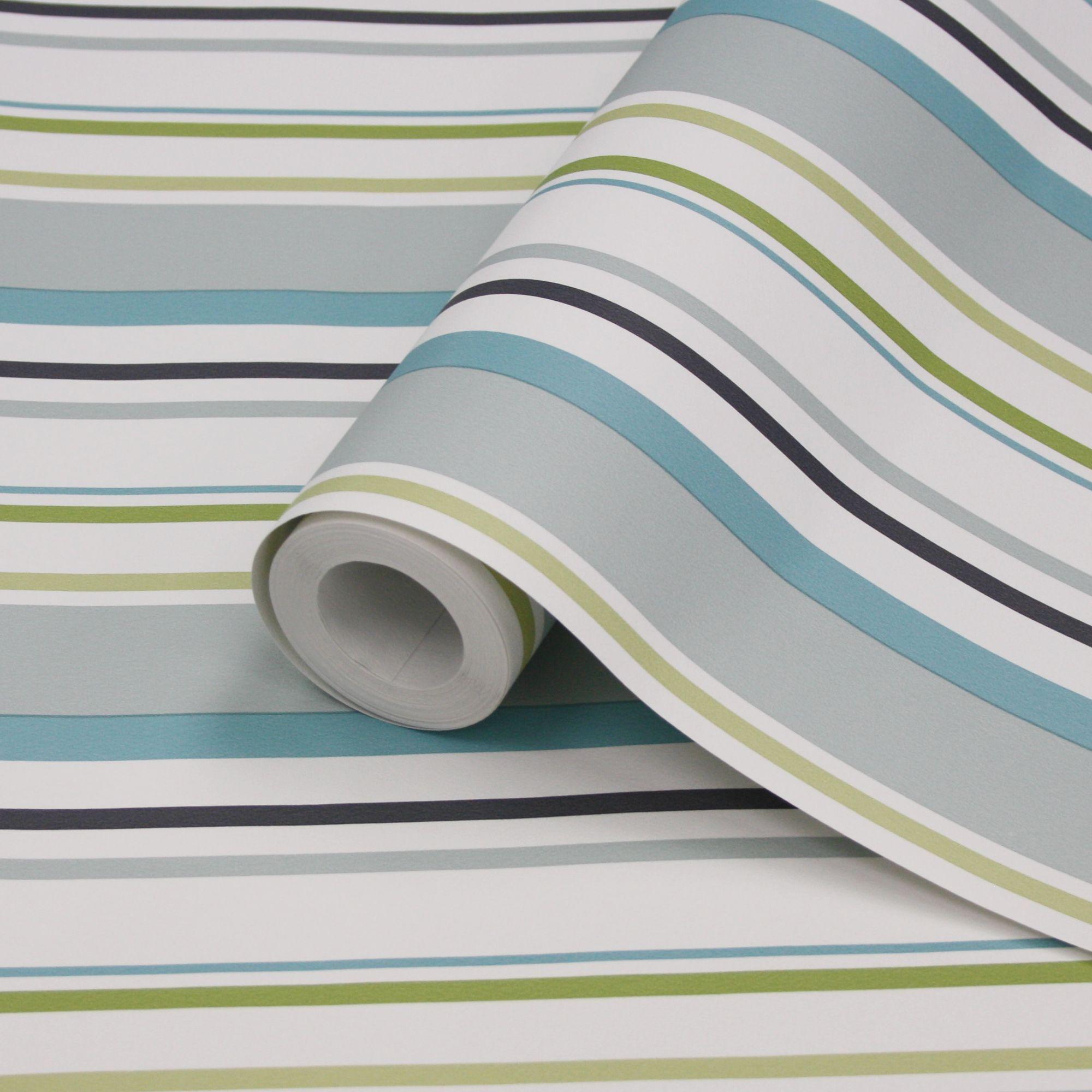 Multi Blue Black Green White Stripe Wallpaper