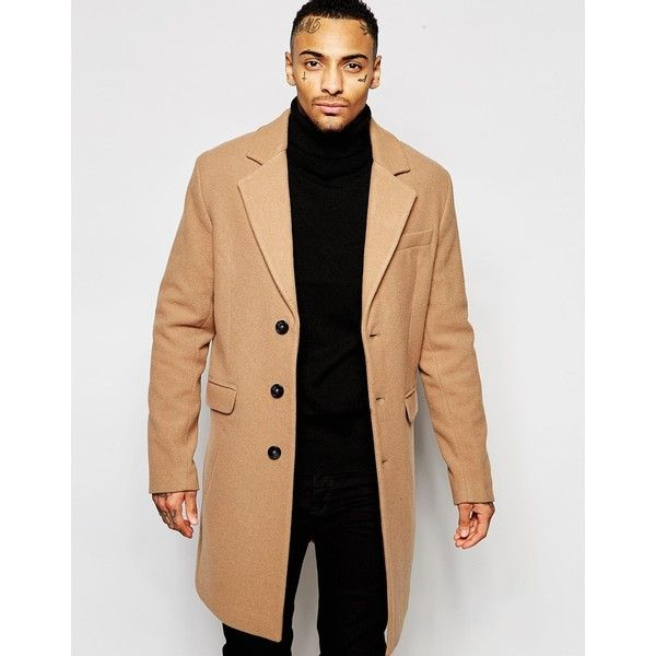 b134e726bbb1 ASOS Wool Rich Overcoat In Camel ($146) ❤ liked on Polyvore featuring men's  fashion, men's clothing, men's outerwear, men's coats, beige, mens wool ...