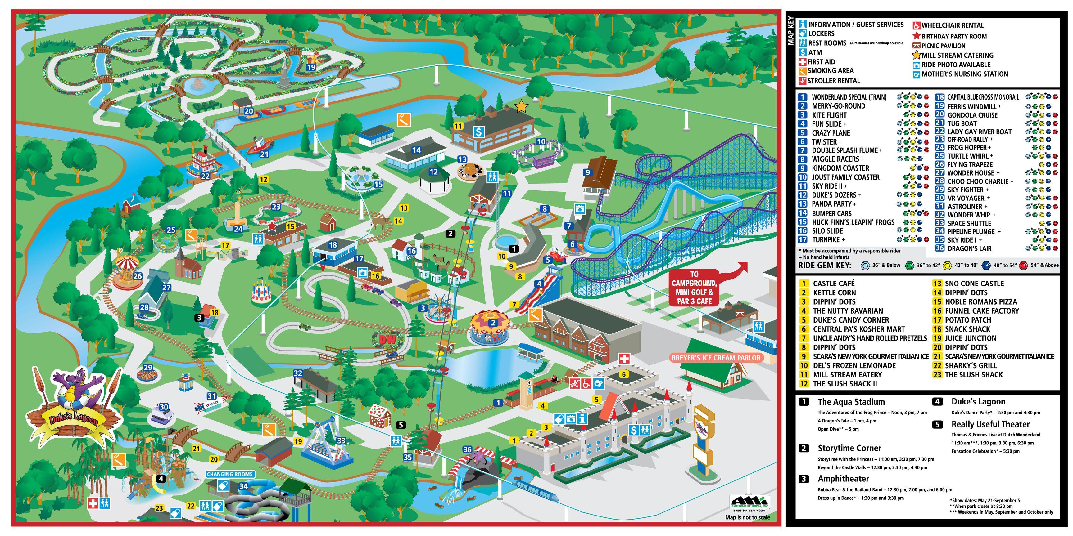 Mill Hall Pa >> Dutch Wonderland - Park Map | Lancaster | Wonderland park, Wonderland, Dutch