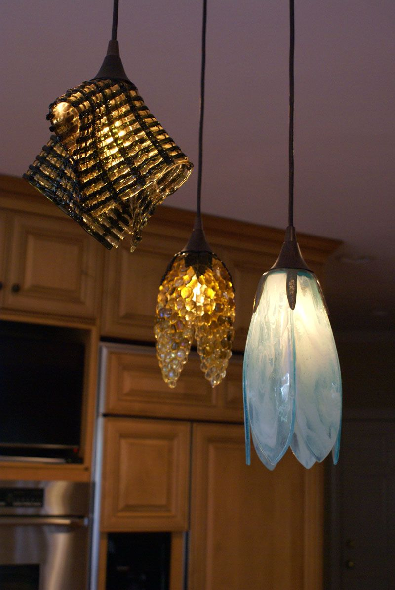 We Created This Unique Trio Of Fused Gl Pendant Lights For Our Client In North Carolina