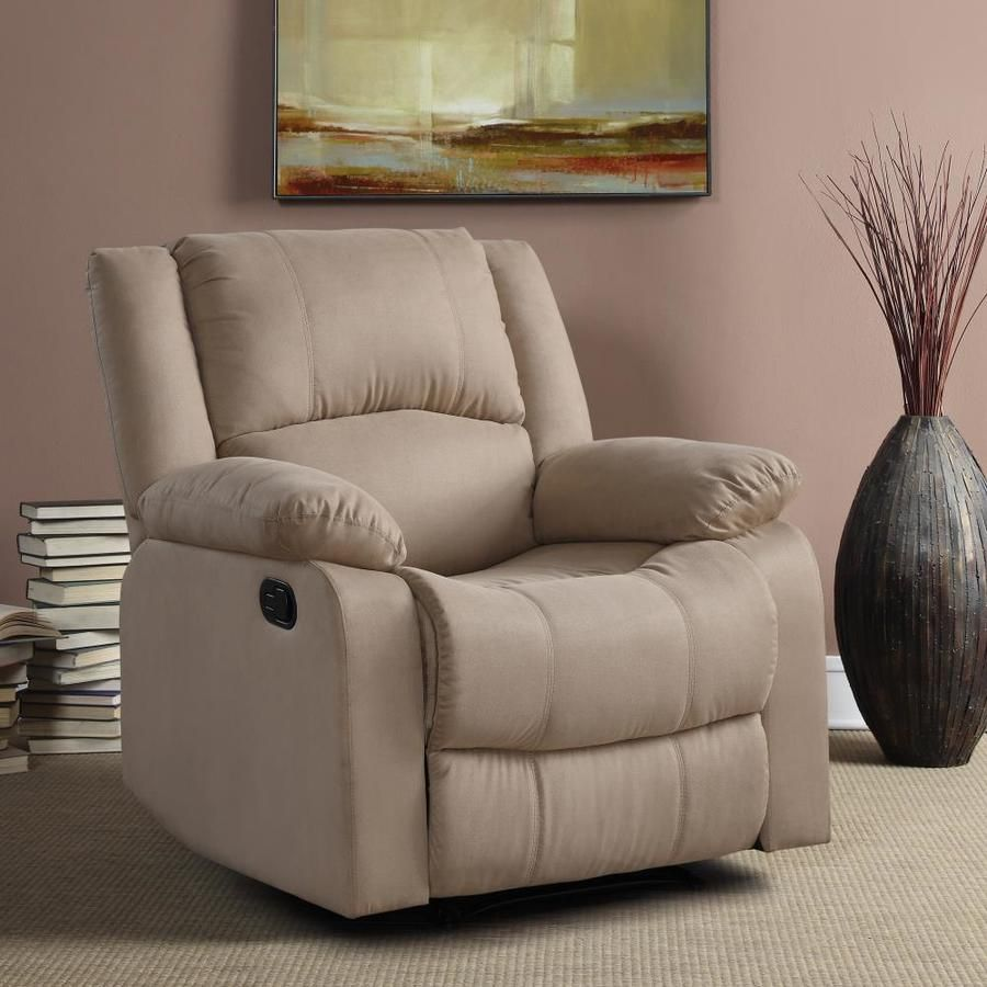 Relax A Lounger Pacific Recliner Chair With Multi Function Microfiber And Wood Frame Beige Lowes Com Manual Recliner Chair Recliner Chair Recliner