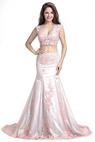 Wallbridal Two Pieces V-neck Mermaid Prom Dress Evening D... https ...