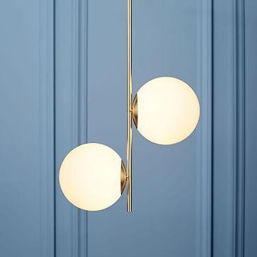 Sphere stem pendant brassmilk glass 2 light pendants lights sphere stem pendant brass aloadofball Choice Image