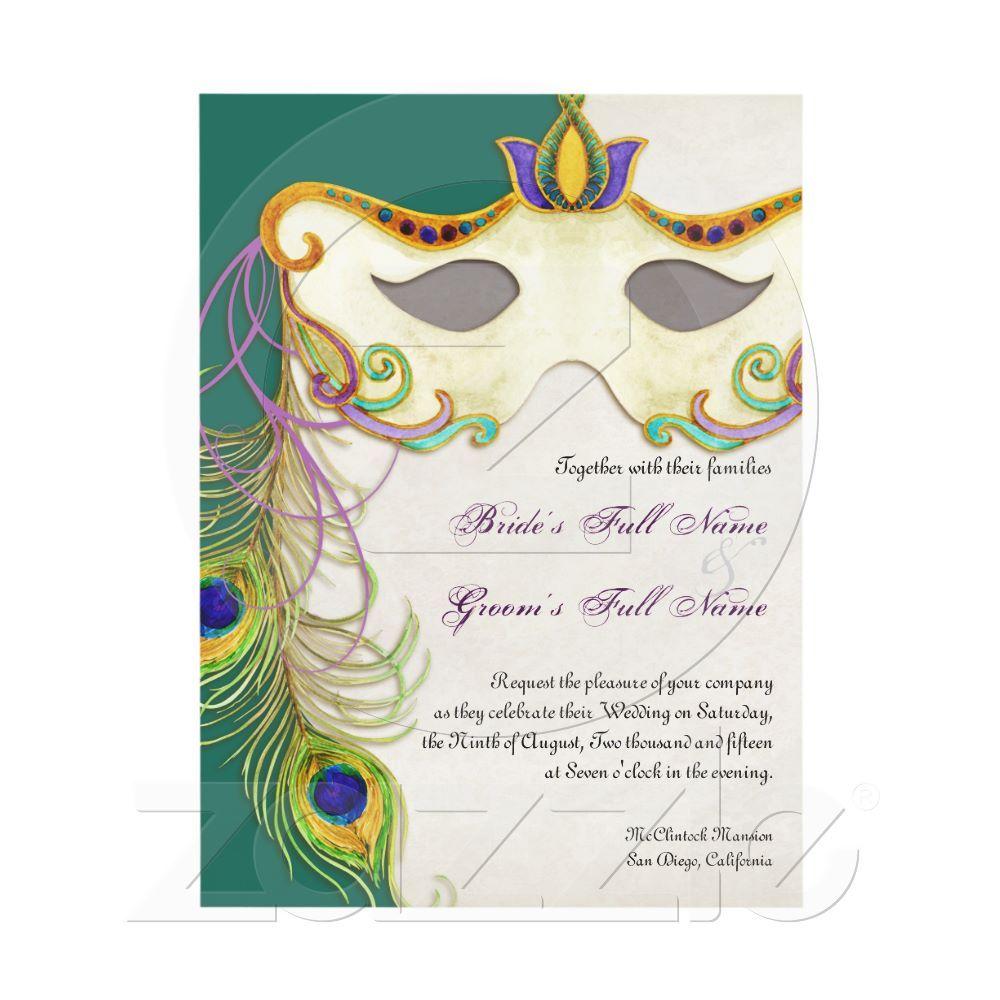 Peacock masquerade mask ball wedding invitation peacocks peacock masquerade mask ball wedding invitation monicamarmolfo Choice Image