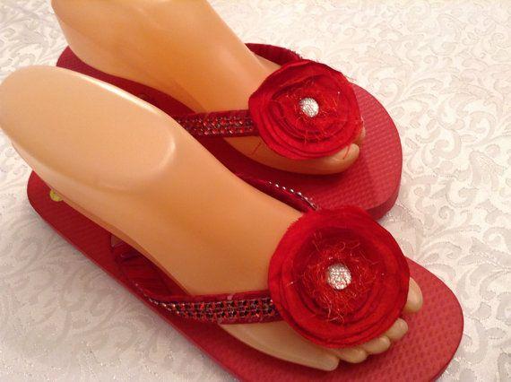 Ladies Medium Ribbon Rhinestone and Bead Red by DorethaRoseDesigns
