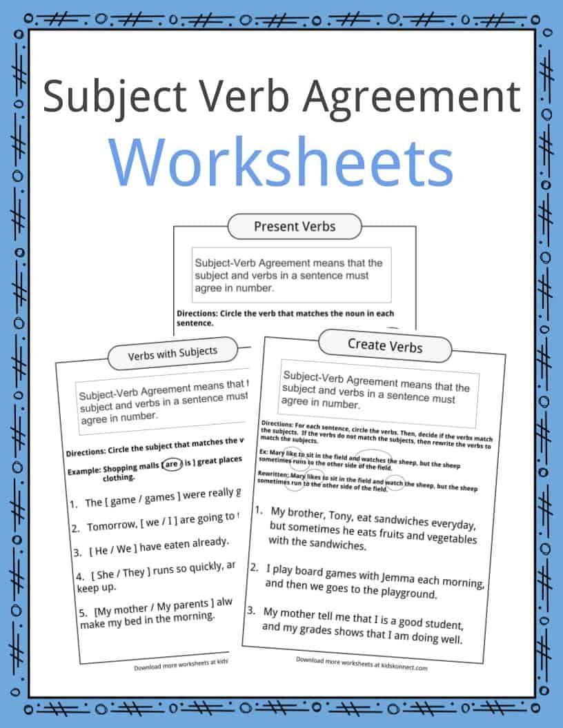 Subject Verb Agreement Worksheets Subject And Verb Subject Verb Agreement Verb Worksheets [ 1056 x 816 Pixel ]