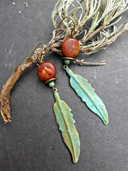 Patina feather charms, Red Creek Jasper stone, bronze metal earrings. -  - McKee Jewelry Designs - 1