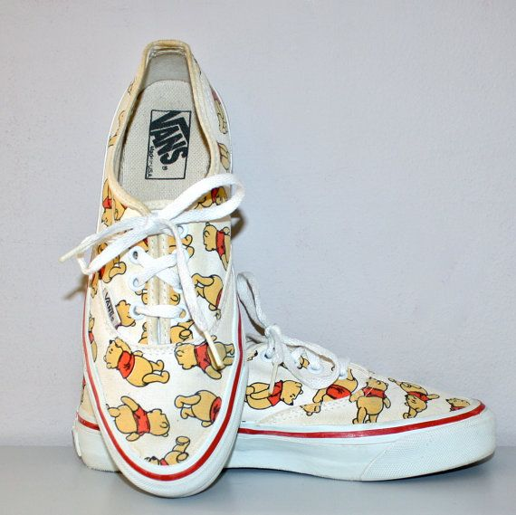 6a9bb62ff12494 Winnie the Pooh 80s VINTAGE VANS Sneakers Punk Skate Tennis Shoes Size 8.