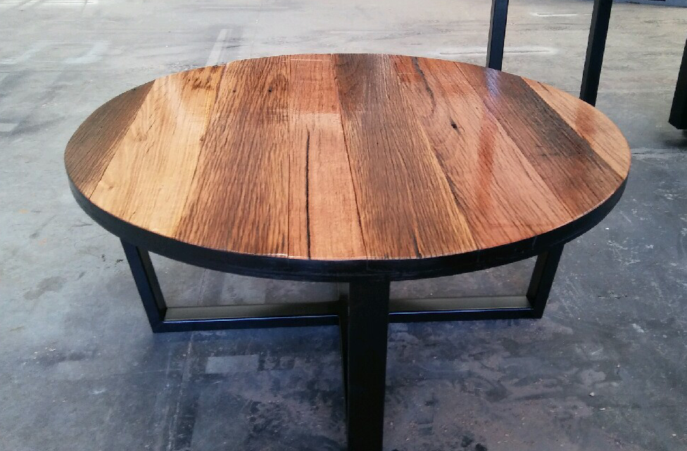 Recycled Timber Palings Industrial Coffee Table With Black