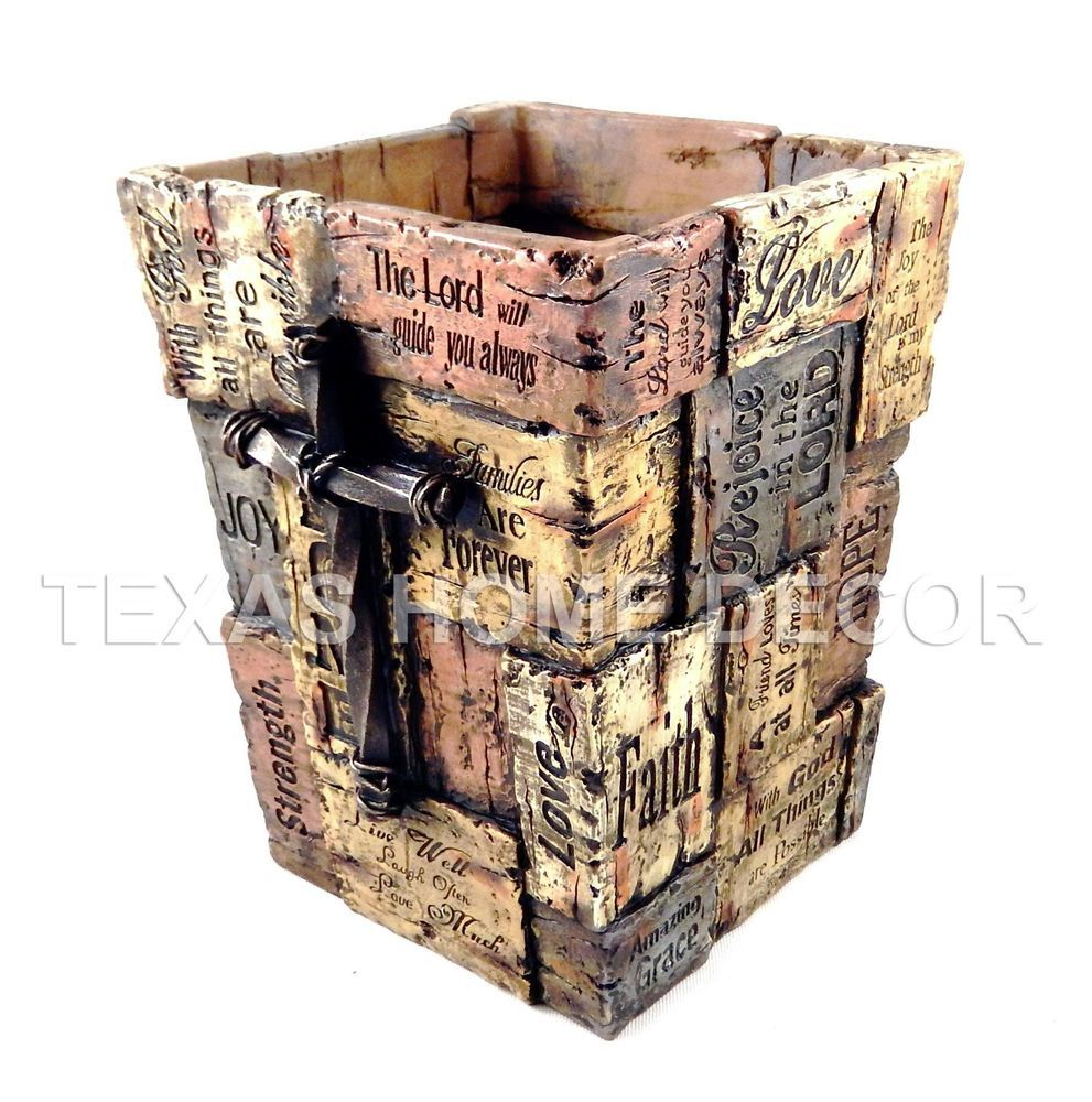 Bathroom Accessories With Crosses inspirational waste basket with cross faith love hope joy rustic
