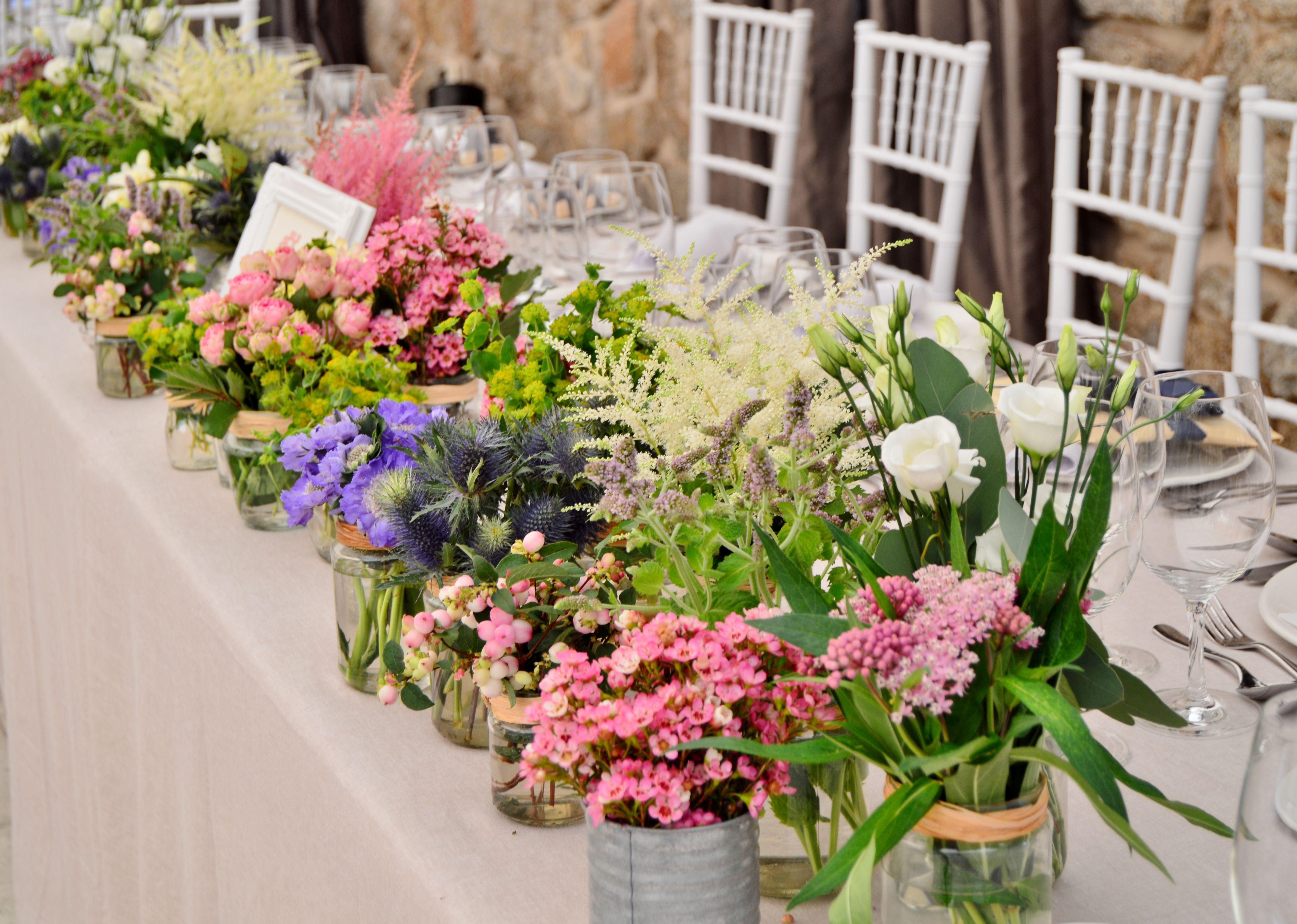 flores decoracin de mesa por ctering goizeko
