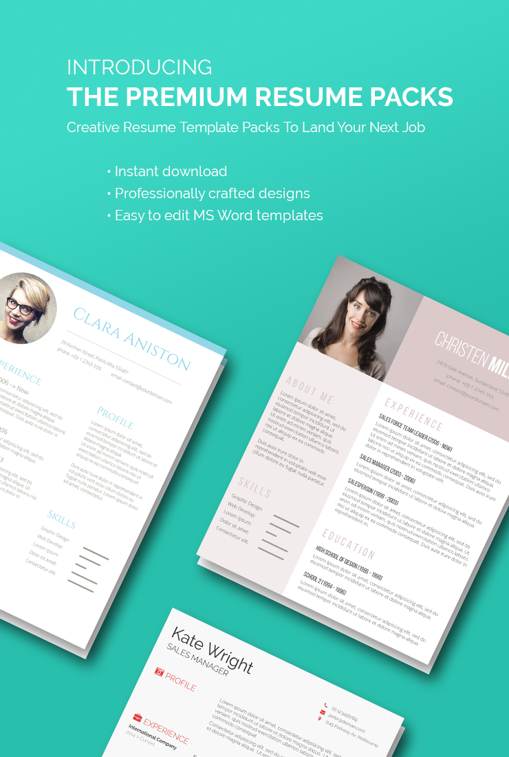 Modern Resume Design Creative Resume Template Packs To Land Your Next Job  Job Resume