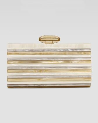 Striped Resin Clutch Bag, Cream #clutch #bag #cream www.loveitsomuch.com