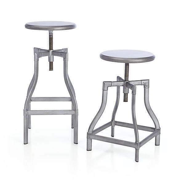 Incredible Turner Gunmetal Adjustable Backless Bar Stools And Linen Frankydiablos Diy Chair Ideas Frankydiabloscom