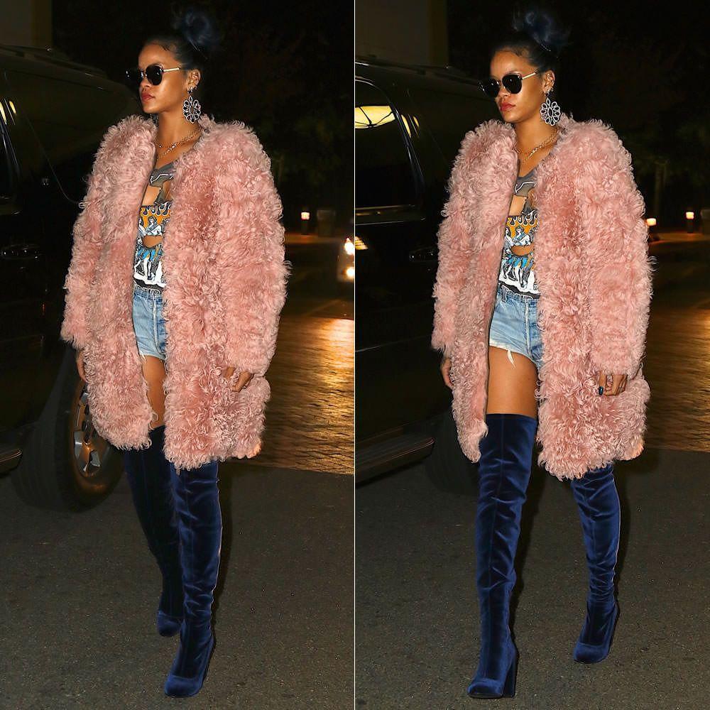 Rihanna Dior Siderall 2 sunglasses, vintage Kiss love gun tour t-shirt, Carvela Kurt Geiger navy blue velvet Wolf thigh-high boots
