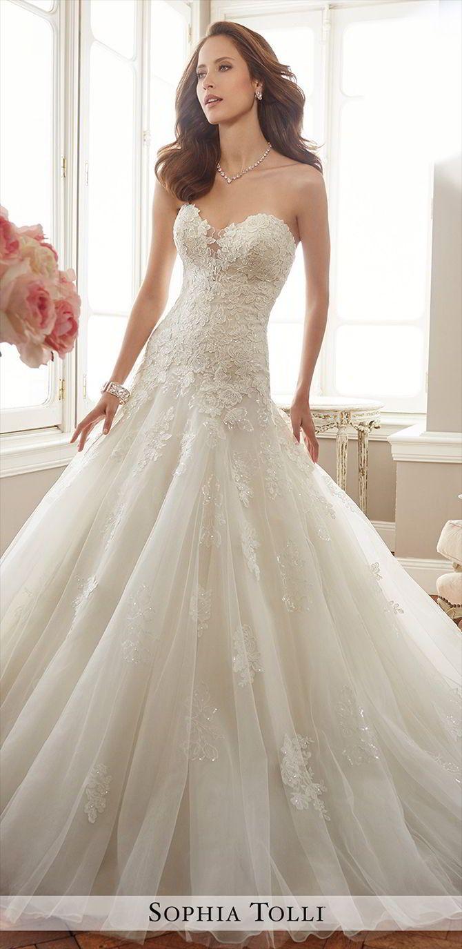 Sophia Tolli Spring 2017 Wedding Dresses World Of Bridal Drop Waist Wedding Dress Wedding Dresses Strapless Fit And Flare Wedding Dress [ 1375 x 670 Pixel ]