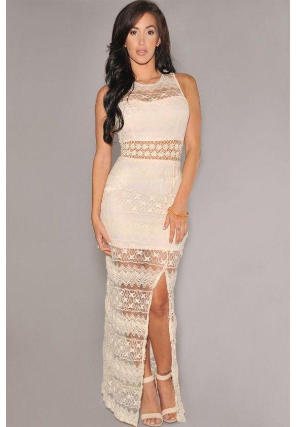 New Fashion Women Lace Sleeveless Crochet Long Maxi Slit Club Prom Party Dress