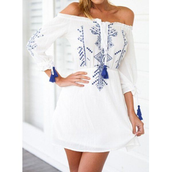 Wholesale Bohemian Off The Shoulder 3/4 Sleeve Printed Dress For Women Only $8.99 Drop Shipping   TrendsGal.com