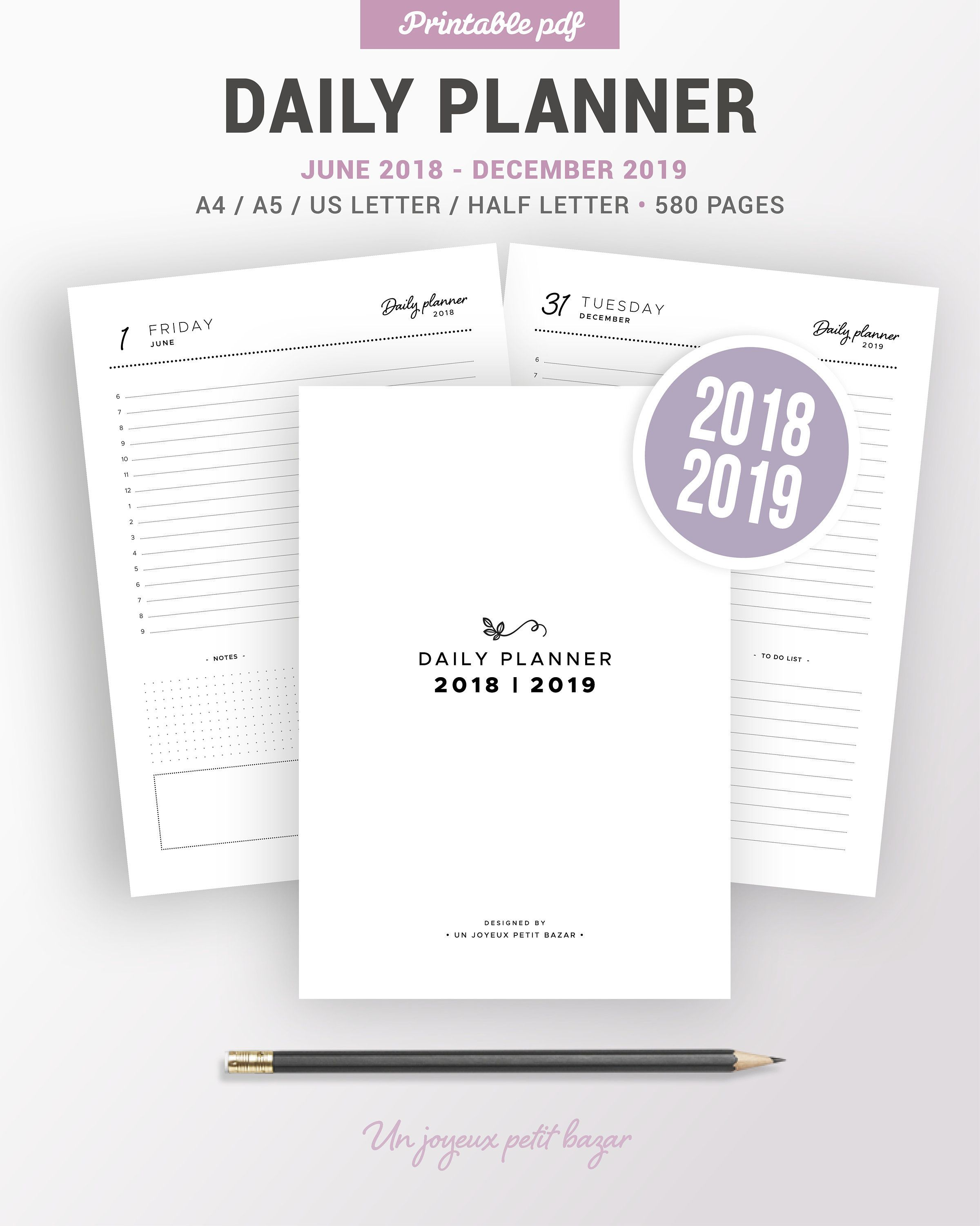2018 2019 Daily Agenda Printable 2018 2019 Daily Planner Daily Diary 580 Pages Day On 1 Page Do1p Daily Planner Printable Planner Daily Planner Printable
