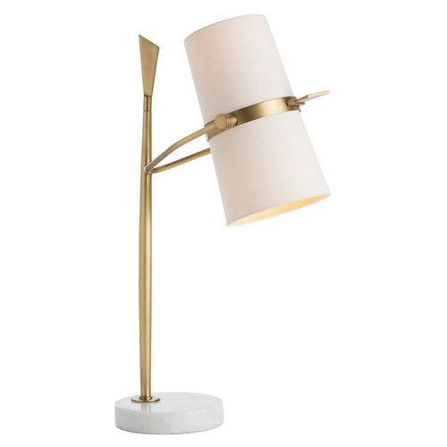 The off white linen shade rotates up and down allowing you to direct the light from