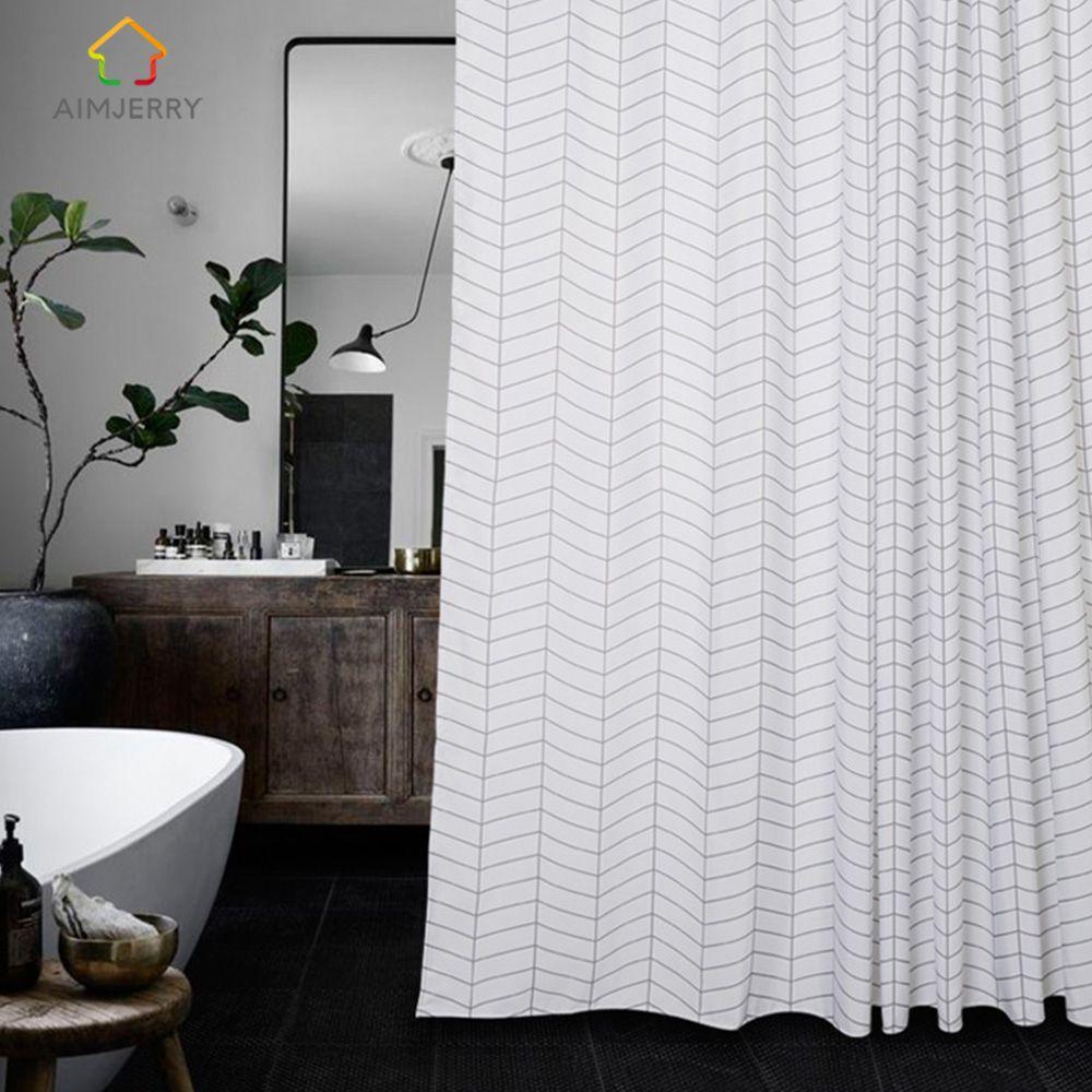 Aimjerry Fabric White and Black Bathtub Bathroom Shower Curtain ...
