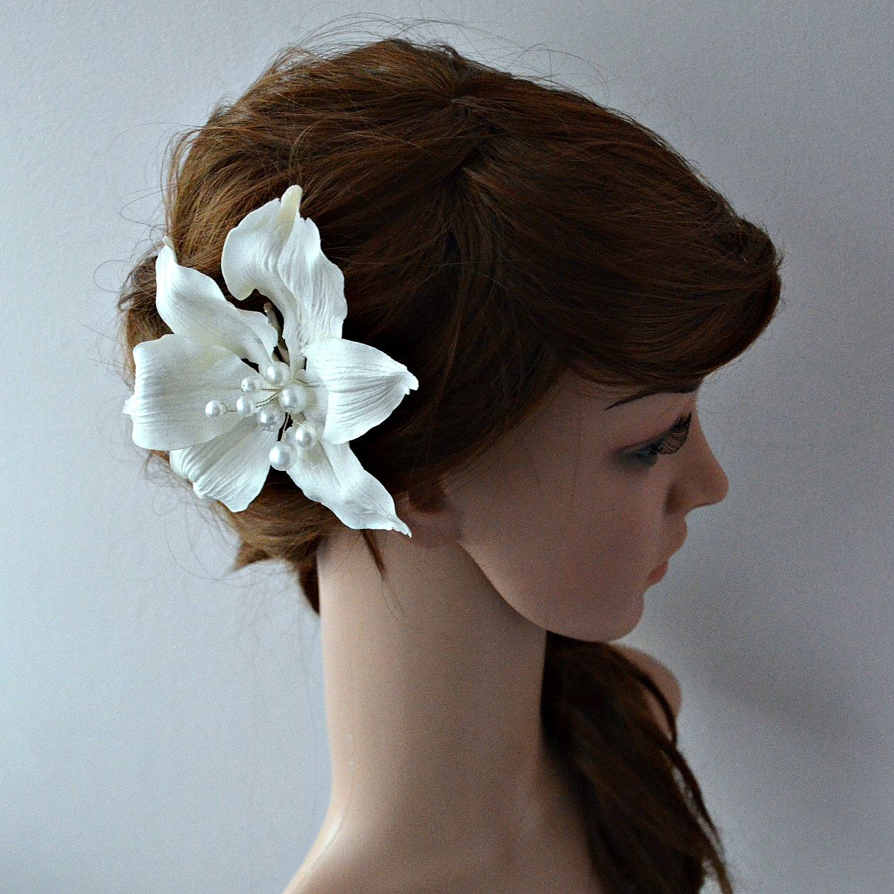 White Flower Fascinator Lily Hair Clip Holiday Bridal Hair