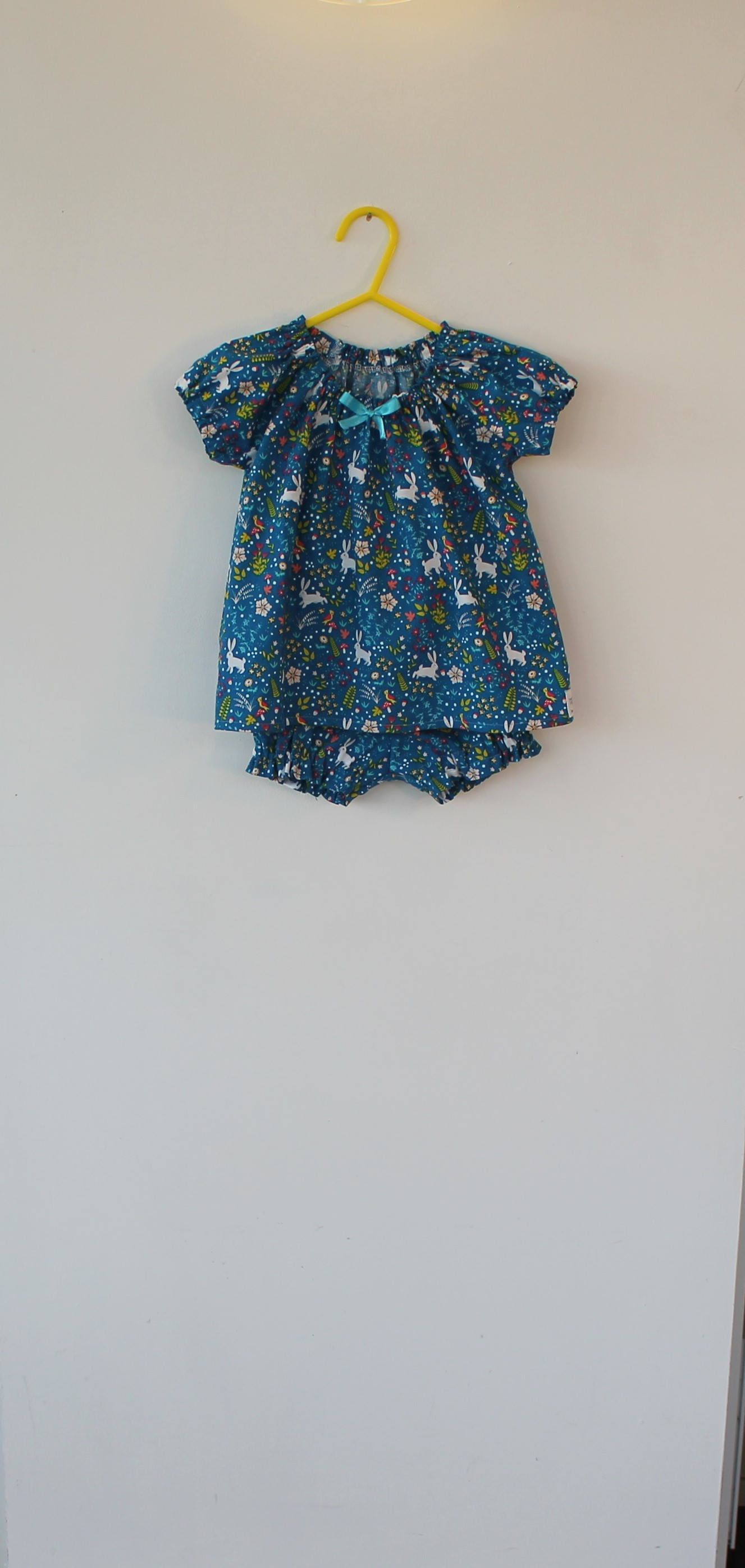 Summer outfit for a one year old. Gypsy style top and matching shorts/bloomers. Gift idea, occasion wear by DottyBirdKidsClothes on Etsy