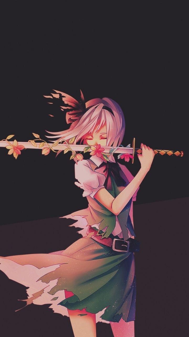 Youmu Konpaku with sword, touhou, anime girl, 720x1280 wallpaper