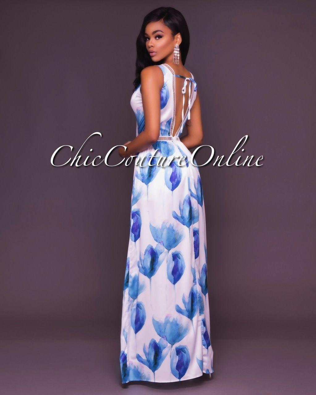 Londyn Ivory Blue Floral Open Front Romper Maxi Dress | Encanta y ...