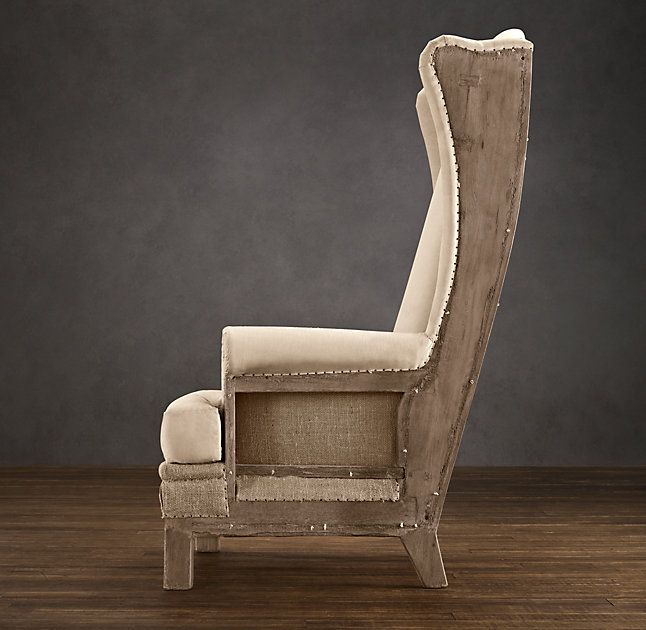 rhu0027s highback wing chair antiqued by the unadorned beauty of their 19thcentury wing chair u2013 liberated from its