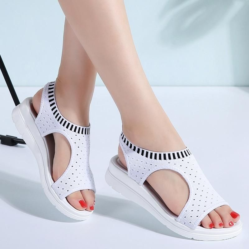 2018 Summer Chic Hollow Shoe Womens Fashion Block Mid Heel Mesh Open Toe Sandals