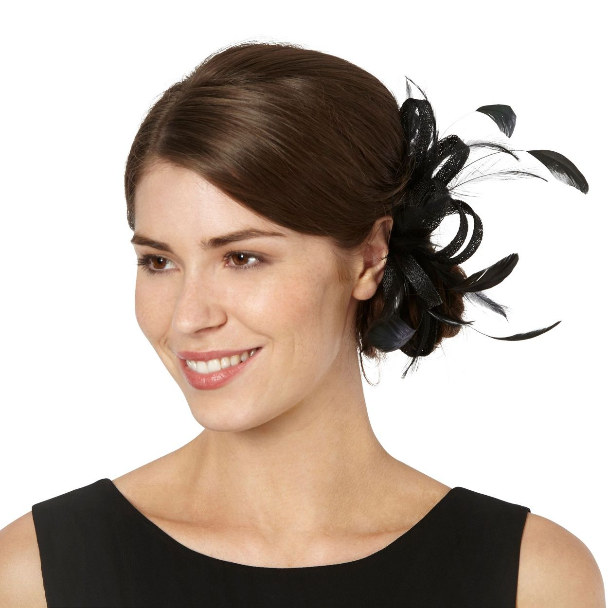 debut black loop & feather hair clip fascinator | debenhams