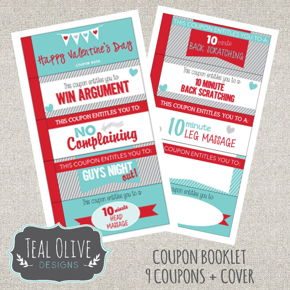 Valentine Coupon Book - Printable love coupons - Romantic Coupons ...