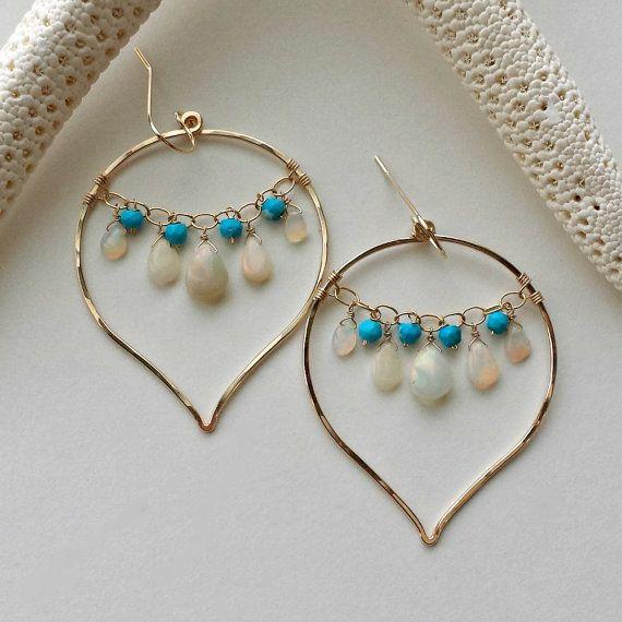 Opal Chandelier Hoops Ethiopian Earrings By Bellaanelajewelry