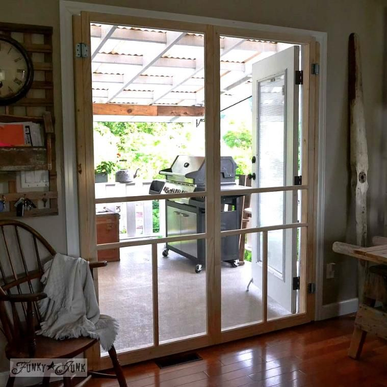 How To Screen French Doors For Only 35 Each French Doors With Screens Diy Screen Door French Doors Interior