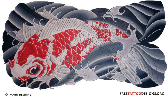 White And Red Koi Tattoo Design In Waves Koi Fish Tattoo Koi Tattoo Design Koi Tattoo