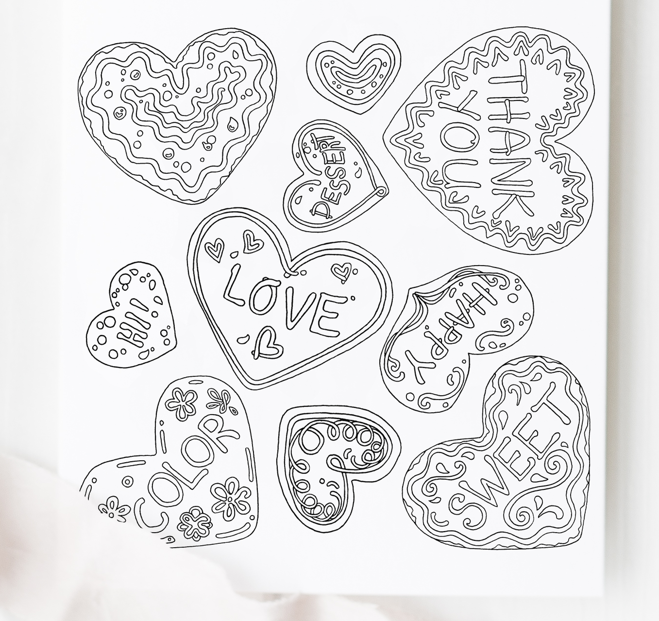 Valentine S Day Cookies Amp Chocolates Coloring Pages Printable