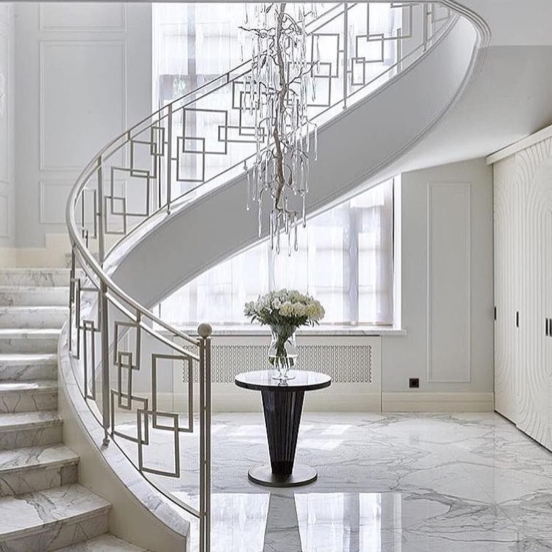 Instagram Home Stairs Design Stairs Design Modern Modern Stair   Stair Railing Design Modern   White   Model Modern Staircase   Marble   Exterior Irregular Stair   Balcony