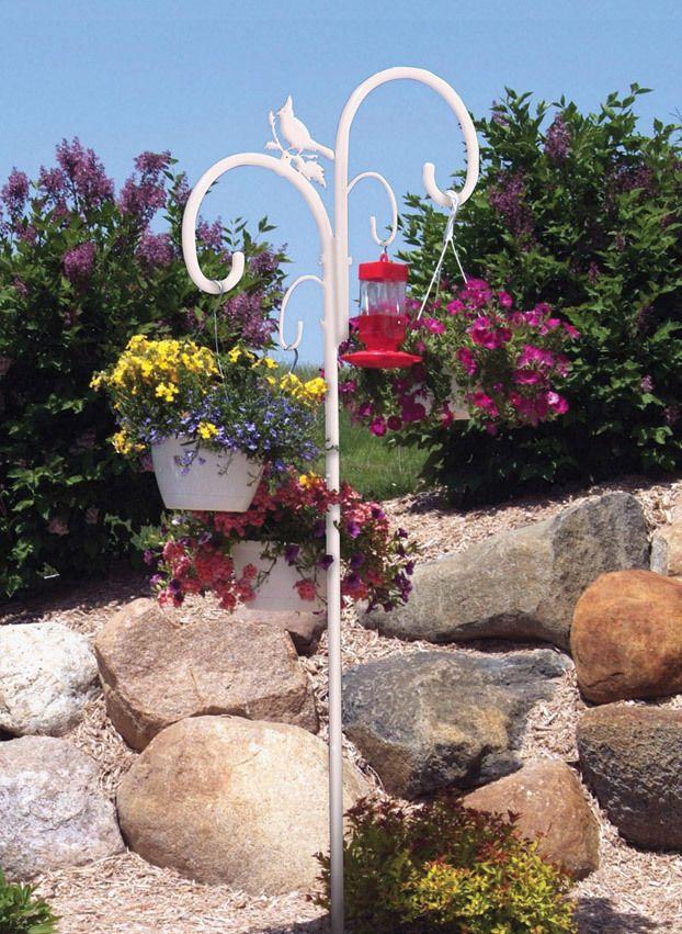 Heavy Duty Shepherd Pole Garden Bird Feeders Hanging Plants Plants