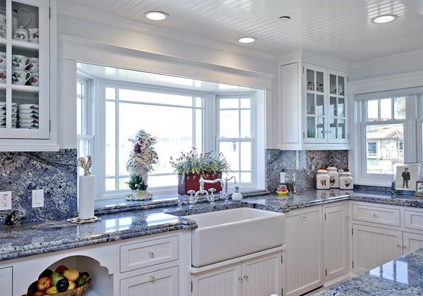 White Kitchen With Ocean Blue Countertops Makes This A Wonderful Beach House Ventura Ca Teles Property Granite