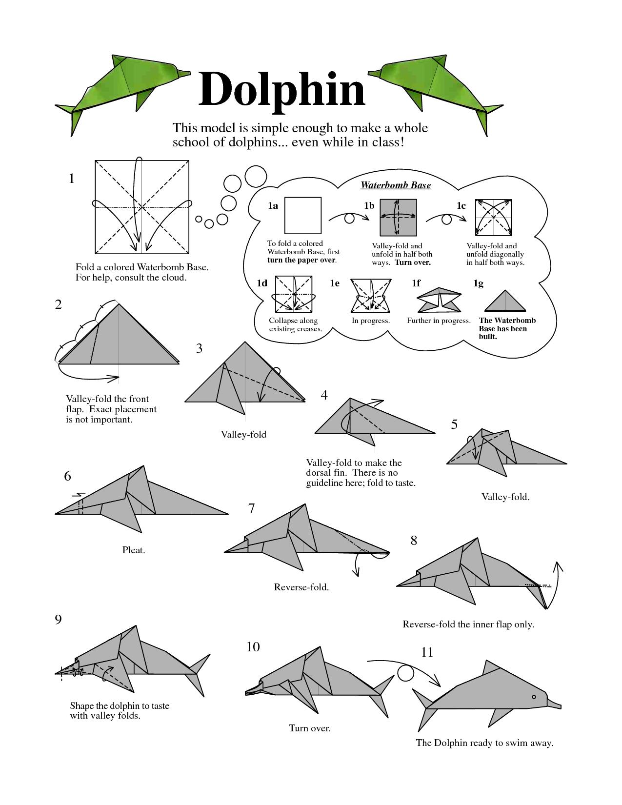 dolphin origami http www docstoc com docs 121212161 [ 1275 x 1650 Pixel ]