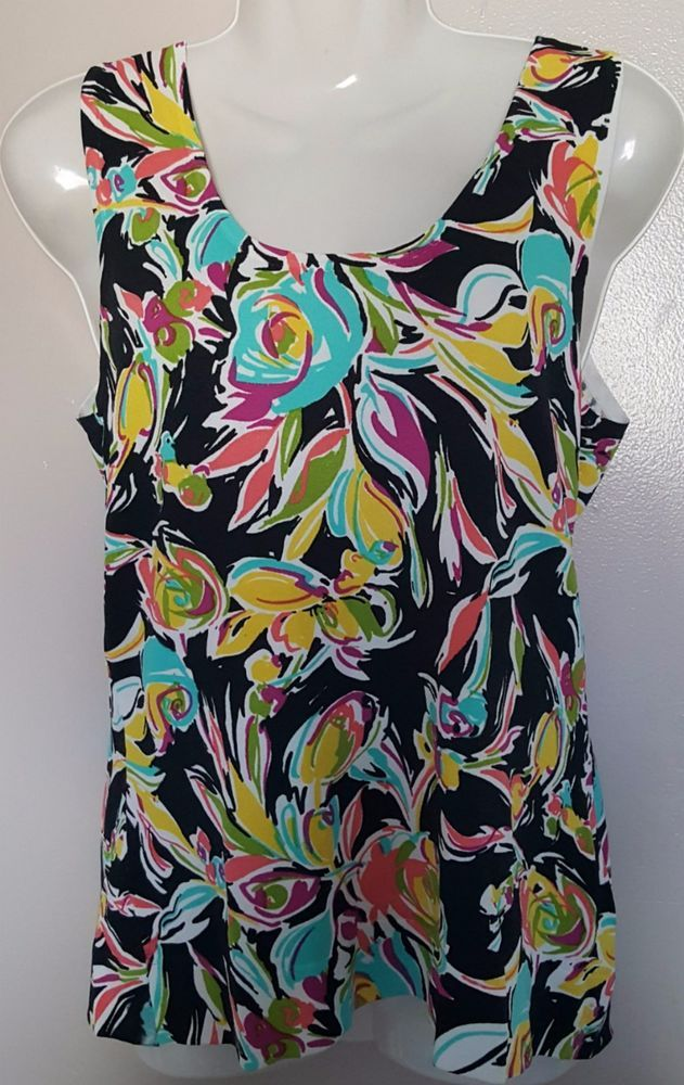 August Silk Size S Floral Print Scoop Neck Vicose Blend Shell Tank Top #AugustSilk #TankCami #Career