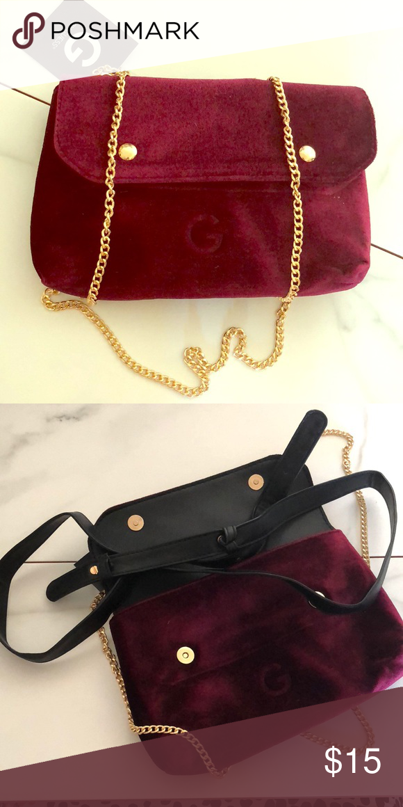 28f34f54403 G by Guess Crossbody Bag ‼️BRAND NEW‼ G by Guess Crossbody Velvet Bag  Color- Dark Pink Purple —Come with gold and black strap you can change it  to ...