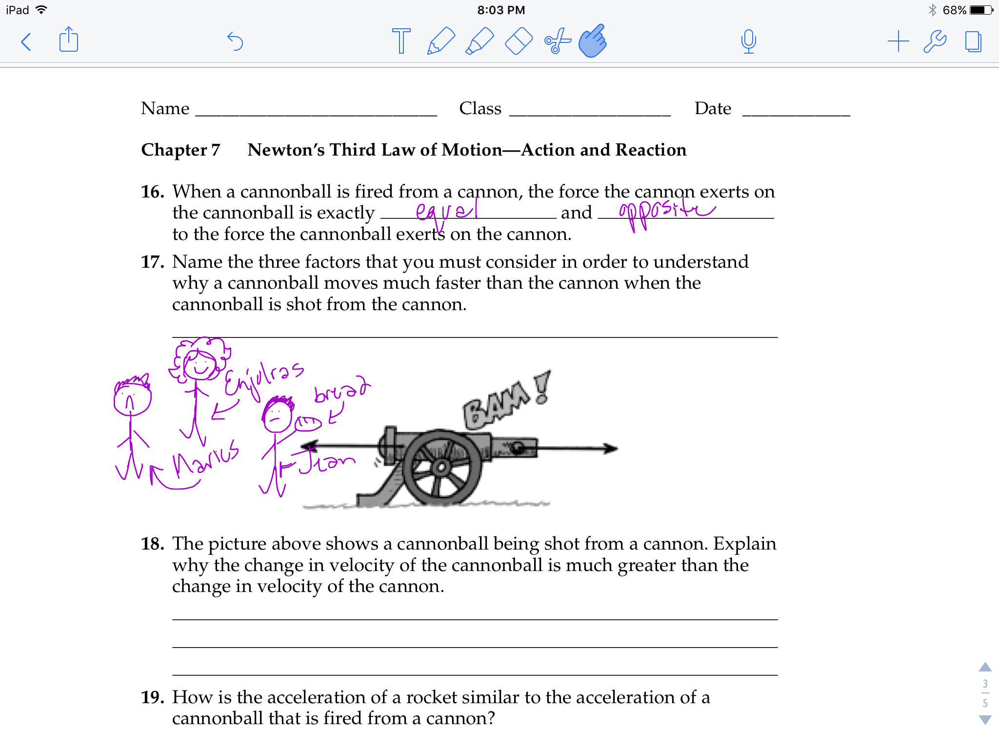 When A Cannon Randomly Shows Up In Your Homework Newtons Third Law Of Motion Newtons Third Law We Are Family