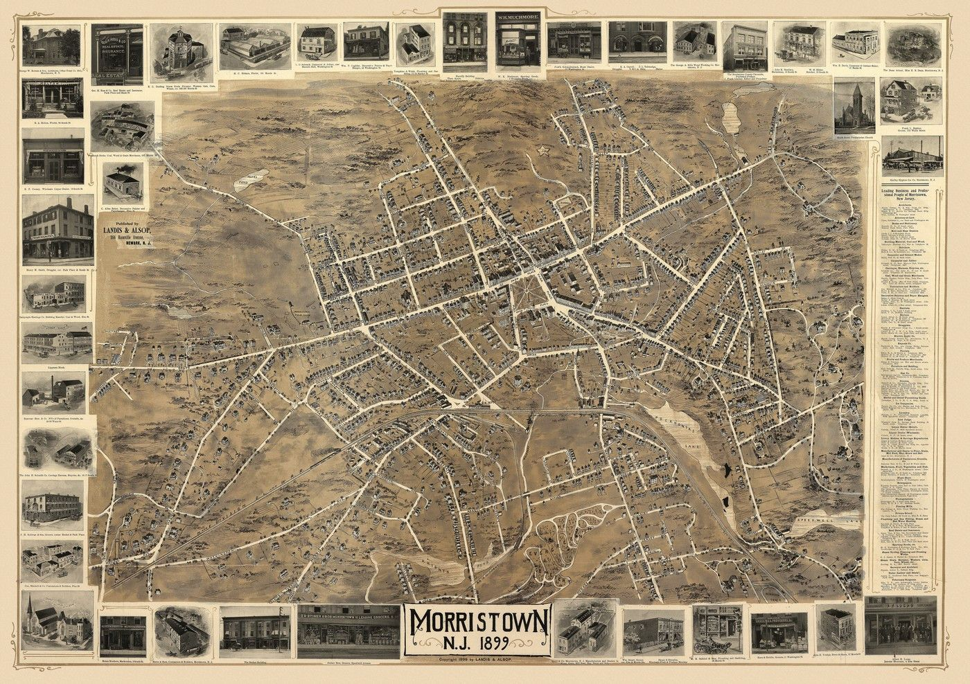 Vintage Map Of Morristown New Jersey 1899 Morris County Poster