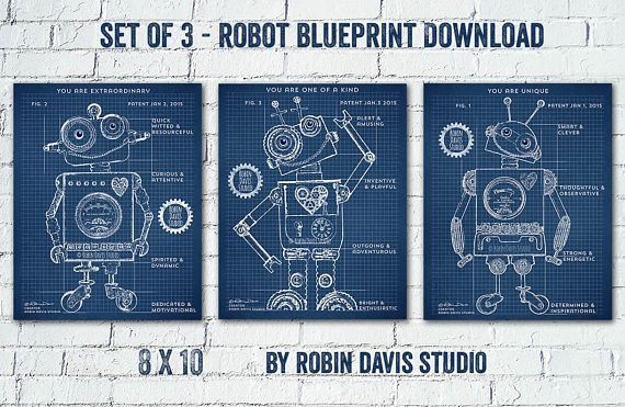 Robot blueprint digital download by robin davis studio this is a robot blueprint digital download by robin davis studio this is a printable pdf print set of 3 8 x 10 inches each 300 dpi high quality personal use malvernweather Images