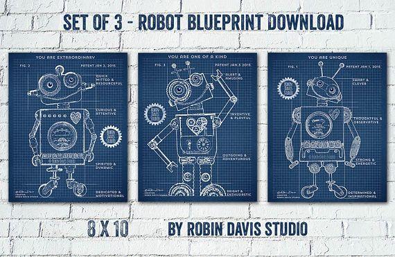 Robot blueprint digital download by robin davis studio this is a robot blueprint digital download by robin davis studio this is a printable pdf print set malvernweather Image collections