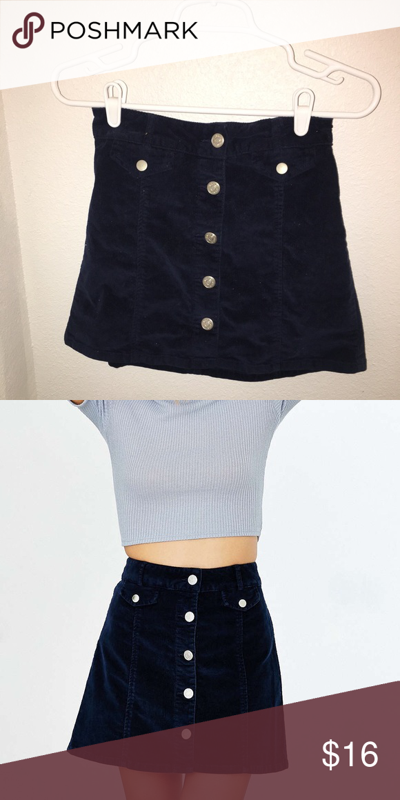 88add306b BDG Button-down Corduroy Mini Skirt Navy Blue Front Button Urban Outfitters  Skirts