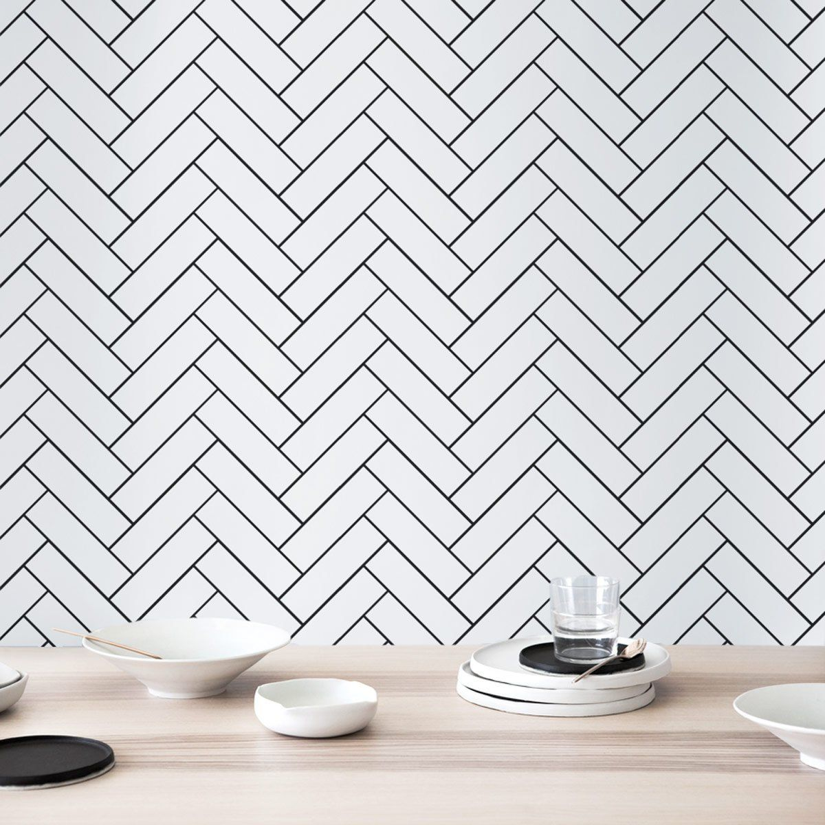 We Can T Get Enough Of White Subway Tile In A Stacked Herringbone Pattern More Herringbone Design Mercury Mosaics Kitchen Inspiration Design White Subway Tile